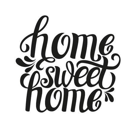 Illustration pour Hand lettering typography poster.Calligraphic quote 'Home sweet home'.For housewarming posters, greeting cards, home decorations.Vector illustration. - image libre de droit