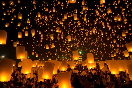 Photo for Flying Sky Lantern on Yeepeng festival, thai lanna tradition religion in Chiangmai thailand - Royalty Free Image