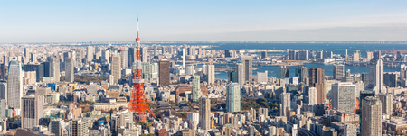 Photo pour Tokyo Tower with skyline in Japan Panorama - image libre de droit