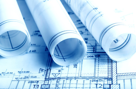 Photo for Architecture rolls architectural plans project architect blueprints real estate concept - Royalty Free Image