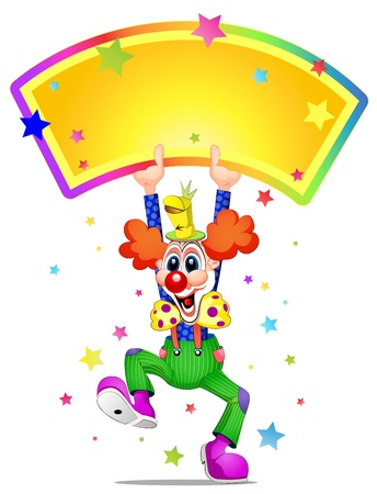 Illustration for Clown mascot laughing and holding placard - Royalty Free Image