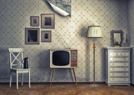 Photo for obsolete retro interior  photo and cg elements combinated  - Royalty Free Image