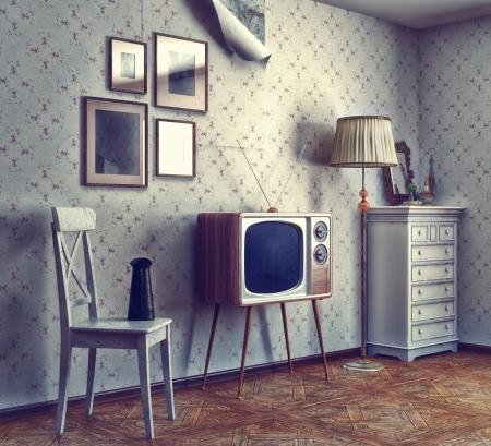 Foto de obsolete retro interior  photo and cg elements combinated, texture and grain add  - Imagen libre de derechos
