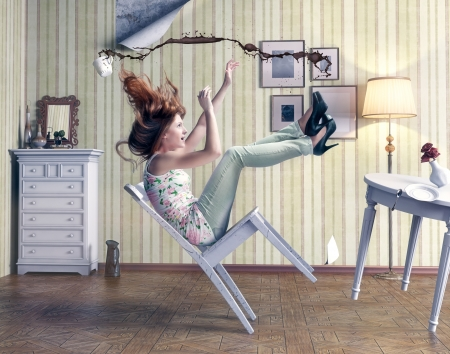 Photo pour girl falls from a chair in vintage room - image libre de droit