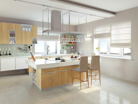 Photo pour modern kitchen interior (CG concept) - image libre de droit