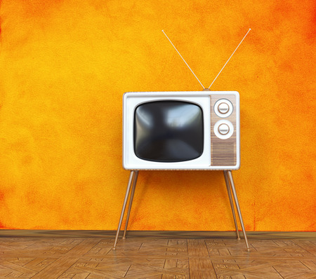 Foto de vintage television over orange background. 3d concept - Imagen libre de derechos