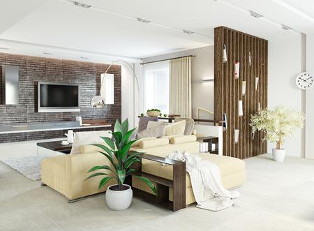 Photo pour modern living room interior design (3d concept) - image libre de droit