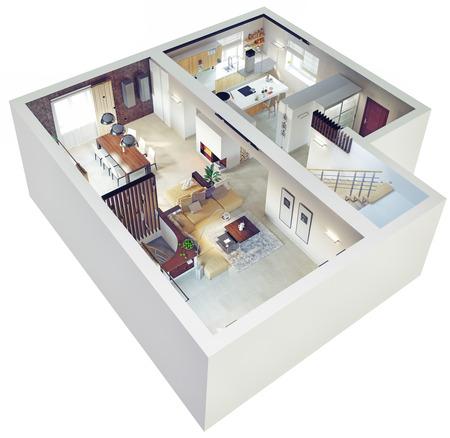 Foto de Plan view of an apartment.Ground floor. Clear 3d interior design. - Imagen libre de derechos