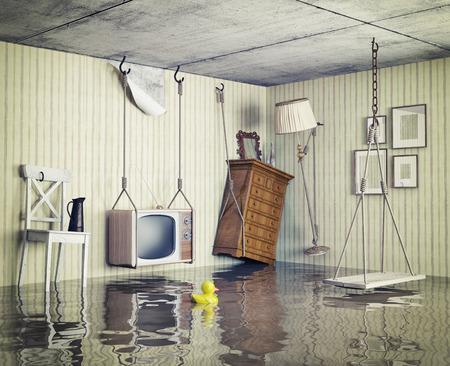 Foto de ordinary life in the flooded flat. 3d concept - Imagen libre de derechos