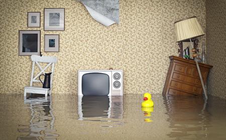 Foto de Flooded vintage interior. 3d concept  - Imagen libre de derechos