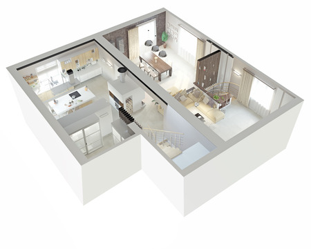 Photo pour Plan view of an apartment.Ground floor. Clear 3d interior design.  - image libre de droit