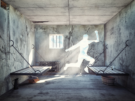 Photo for escape from a prison cell. 3d concept - Royalty Free Image