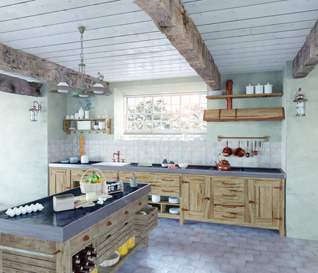 Photo pour beautiful old-style kitchen interior. 3D concept - image libre de droit