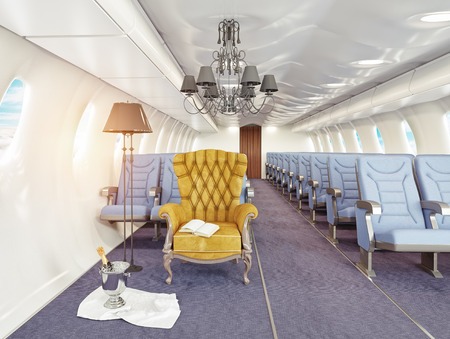 Foto de luxury armchair in airplane cabin. 3d creativity concept - Imagen libre de derechos