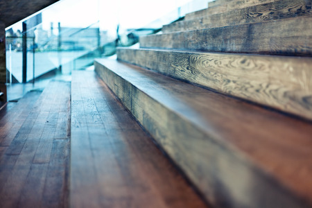 Photo for Close-up old wooden stair in modern interior. Beautiful DOF effect - Royalty Free Image