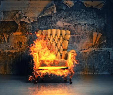Foto de burning armchair in the grunge interior. 3D illustration creative concept - Imagen libre de derechos