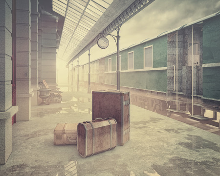 Foto de fog on the retro railway  train station .Vintage color style 3D concept - Imagen libre de derechos