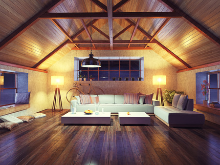 Foto de beautiful modern interior loft in the evening. 3d concept design. - Imagen libre de derechos