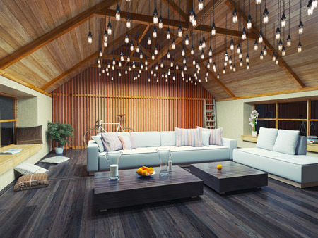 Photo for beautiful modern interior loft in the evening. 3d concept design. - Royalty Free Image