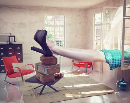 Photo pour large woman resting in the interior. Photo combination concept - image libre de droit