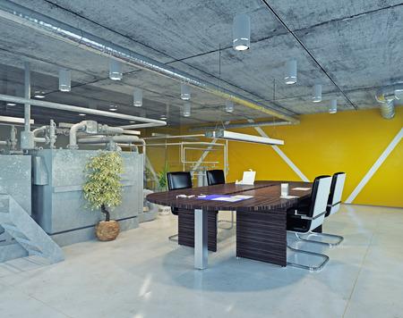 Photo pour modern loft office interior. 3d design concept - image libre de droit