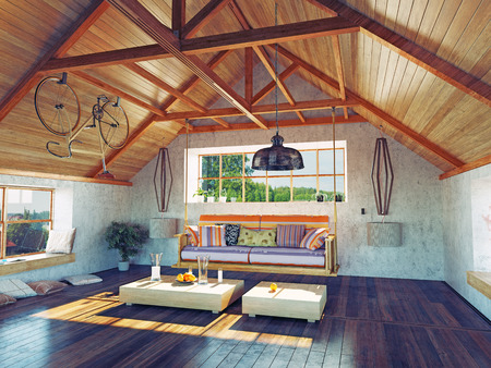 Foto de beautiful modern attic interior with hanging sofa. 3d design concept. - Imagen libre de derechos