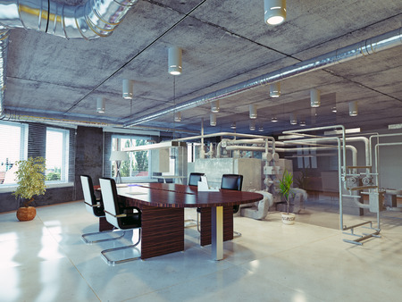 Photo for modern loft office interior. 3d design concept - Royalty Free Image