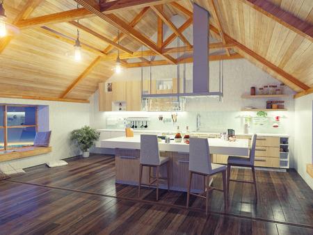 Foto de modern kitchen interior with island in the attic (3d design concept) - Imagen libre de derechos