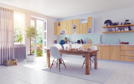 Photo pour modern kitchen interior. 3d design cocept. - image libre de droit