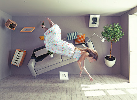 Foto per young beautiful lady fly in zero gravity room. Photo combination creative concept - Immagine Royalty Free