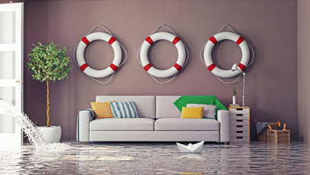 Photo for flooding in  interior. 3d creative concept - Royalty Free Image