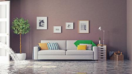 Foto de flooding in luxurious interior. 3d creative concept - Imagen libre de derechos