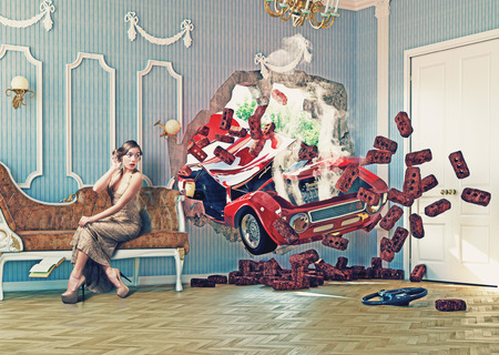 Photo pour red car breaks the wall in luxurious interior with frightened woman. 3d creative concept - image libre de droit