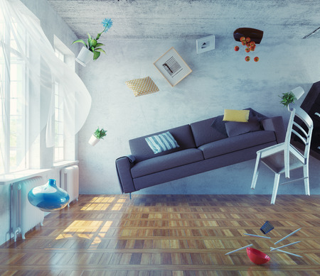 Photo for zero-gravity interior. 3d creative concept - Royalty Free Image