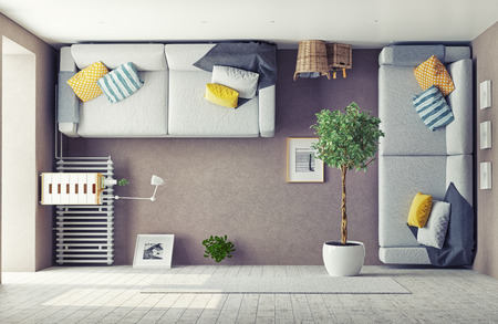 Foto per strange living room  interior. 3d design concept - Immagine Royalty Free
