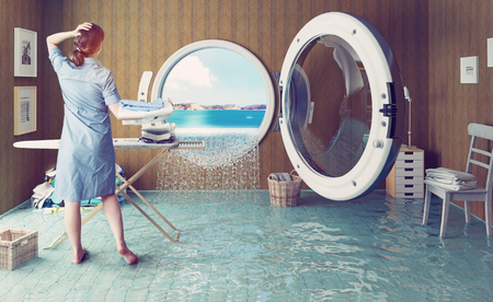 Foto de Housewife dreams. Creative concept. Photo combination - Imagen libre de derechos
