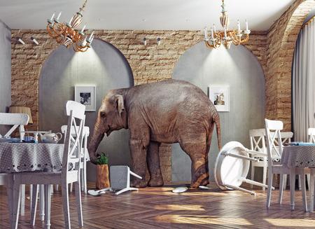 Photo pour an elephant calm in a restaurant interior. photo combination concept - image libre de droit