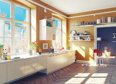 Photo pour the modern kitchen interior. 3d render concept - image libre de droit