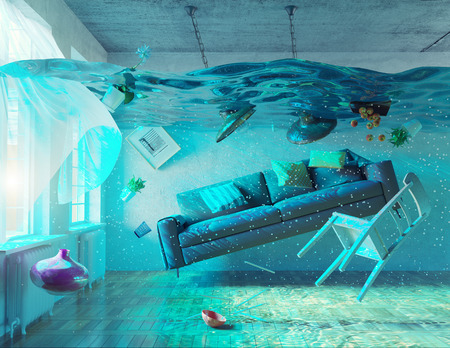 Foto de an underwater view in the flooding interior. 3d concept - Imagen libre de derechos