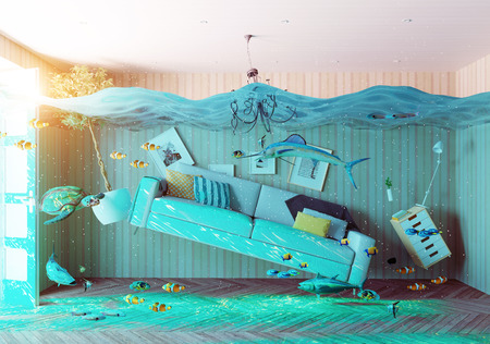 Photo pour an underwater view in the flooding interior. 3d concept - image libre de droit