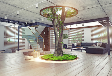 Photo pour eco design of the modern interior. Real living tree indoor. 3d concept - image libre de droit
