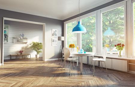 Photo pour modern dining room. 3d concept - image libre de droit