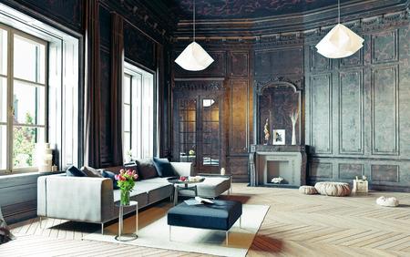 Photo pour modern style black living room apartment. 3d rendering - image libre de droit