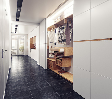 Foto de modern interior of the  hallway. 3D rendering - Imagen libre de derechos