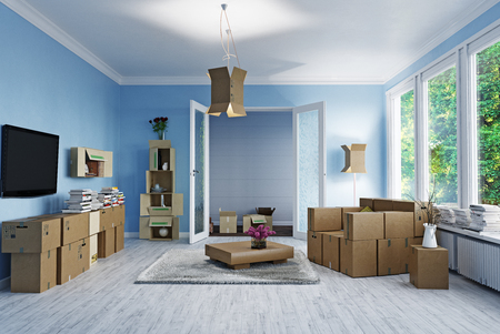 Foto de The room with card cardboard boxes instead of furniture. 3d concept - Imagen libre de derechos