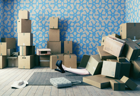 Photo for A lot of cardboard boxes fell on a young woman. Photo combination concept - Royalty Free Image