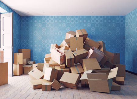 Foto de the heap of the cardboard boxes in the room. 3d concept - Imagen libre de derechos
