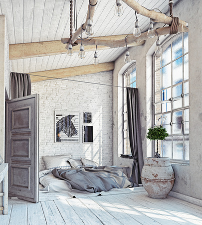 Photo for Scandinavian style interior. Bedroom attic. 3d rendering - Royalty Free Image