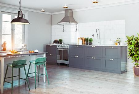 Photo pour Modern kitchen interior. Scandinavian style design. 3d rendering concept - image libre de droit