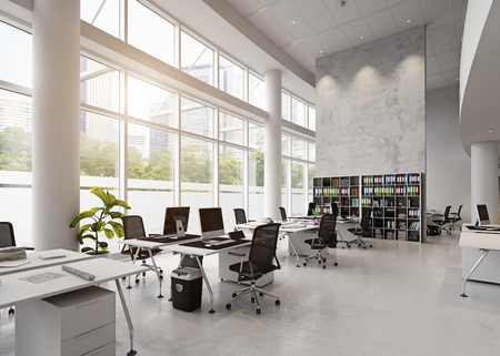Photo for modern office building interior. 3d rendering concept - Royalty Free Image